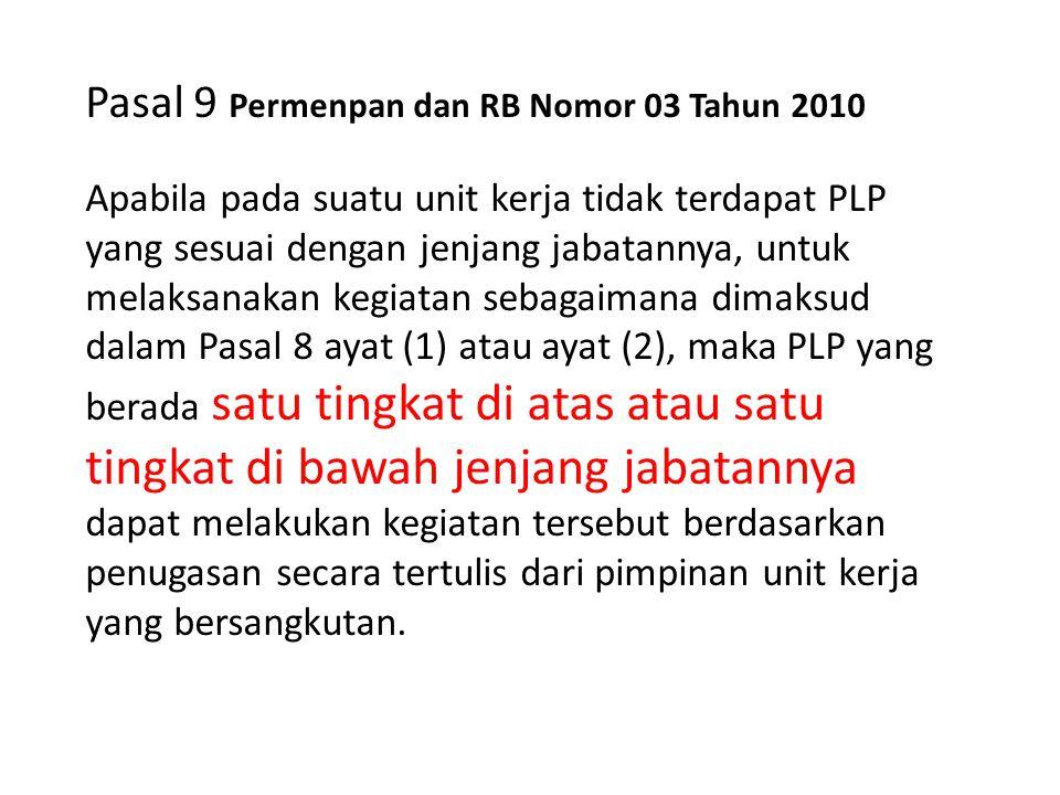 Pasal 9 Permenpan dan RB Nomor 03 Tahun 2010 Apabila pada suatu unit kerja tidak terdapat PLP yang sesuai dengan jenjang jabatannya, untuk melaksanaka