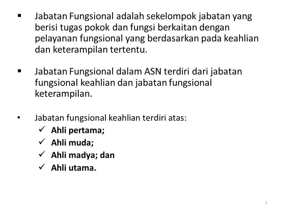 7  Jabatan Fungsional adalah sekelompok jabatan yang berisi tugas pokok dan fungsi berkaitan dengan pelayanan fungsional yang berdasarkan pada keahli