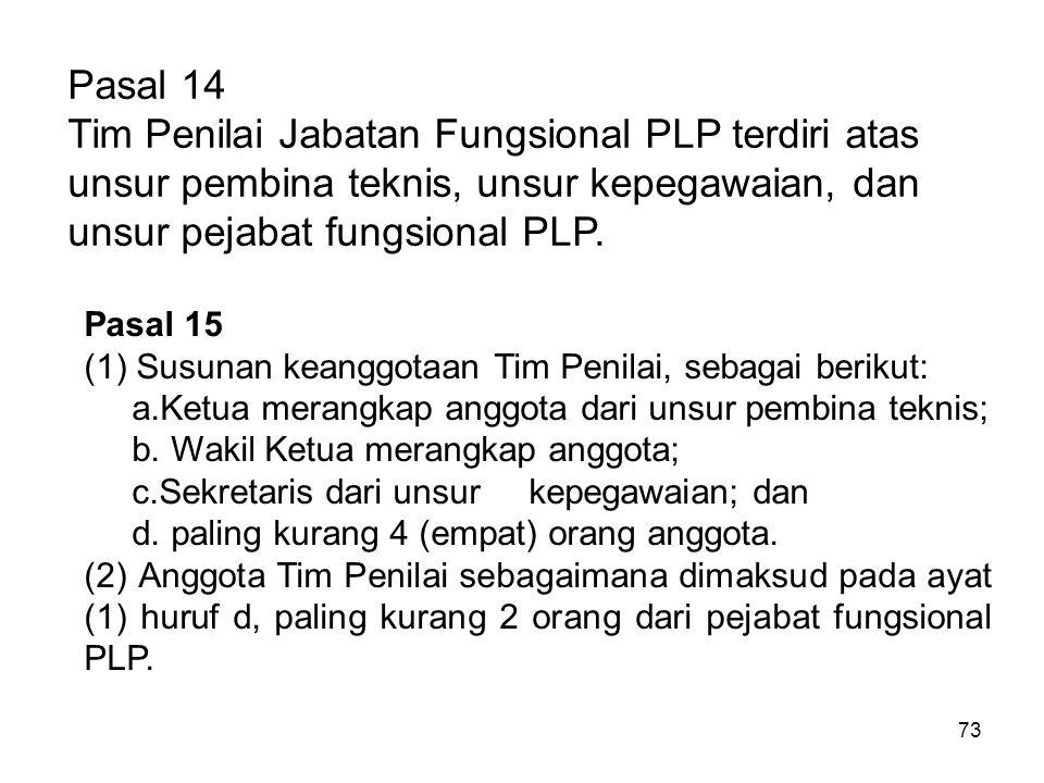 73 Pasal 14 Tim Penilai Jabatan Fungsional PLP terdiri atas unsur pembina teknis, unsur kepegawaian, dan unsur pejabat fungsional PLP. Pasal 15 (1)Sus