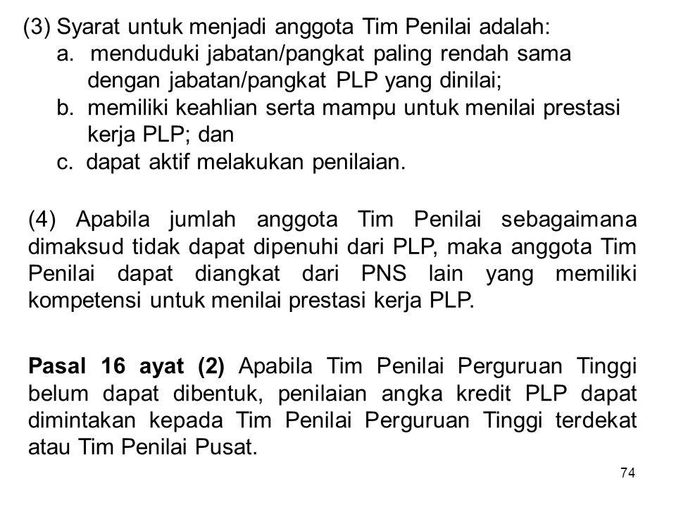 74 (3) Syarat untuk menjadi anggota Tim Penilai adalah: a.menduduki jabatan/pangkat paling rendah sama dengan jabatan/pangkat PLP yang dinilai; b. mem