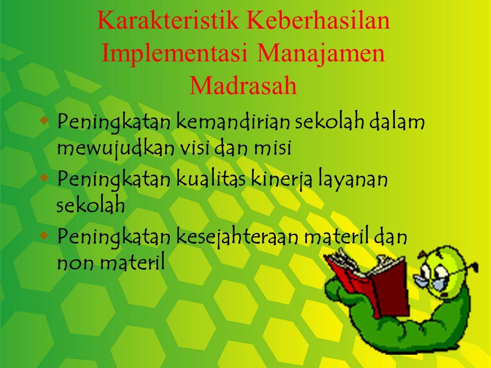 Karakteristik Keberhasilan Implementasi Manajamen Madrasah  Peningkatan kemandirian sekolah dalam mewujudkan visi dan misi  Peningkatan kualitas kinerja layanan sekolah  Peningkatan kesejahteraan materil dan non materil