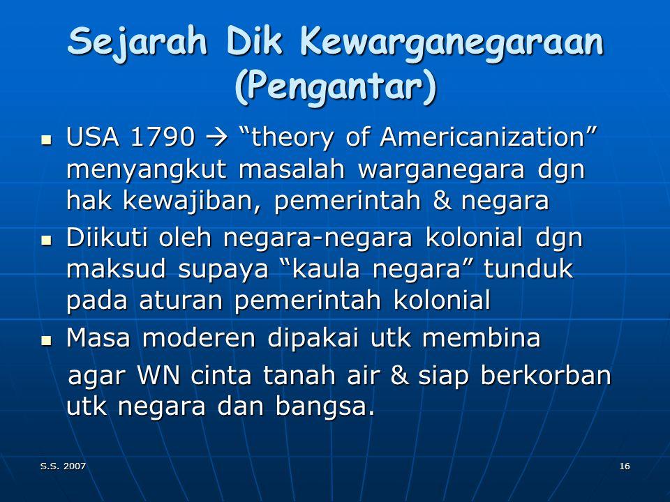 S.S. 200715 NOMENKLATUUR/TERMINOLOGI: PENDIDIDKAN KEWARGANEGARAAN DI DUNIA (Pengantar) CIVICS, CIVIC EDUCATION(USA) CIVICS, CIVIC EDUCATION(USA) CITIZ