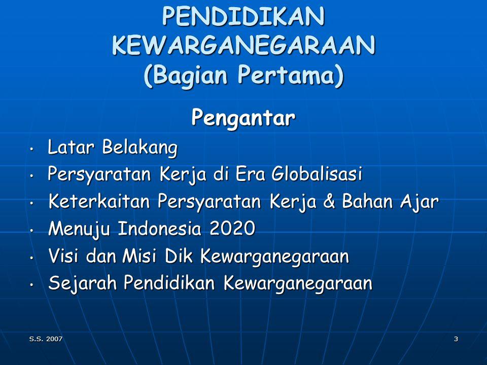 S.S. 20072 PENDIDIKAN KEWARGANEGARAAN Geografi SDA LH WILAYAH Manusia Indonesia PANCASILA NEGARA Wawasan Nusantara Ketahanan nasional Bela Negara KETU