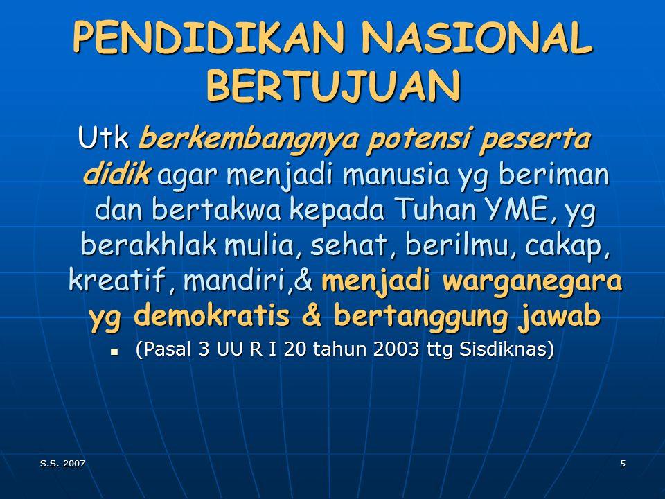 S.S. 20074 PENDIDIKAN NASIONAL BERFUNGSI MENGEMBANGKAN KEMAMPUAN & MENGEMBANGKAN KEMAMPUAN & MEMBENTUK WATAK SERTA PERADABAN BANGSA YANG BERMARTABAT M