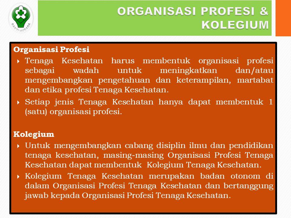 Organisasi Profesi  Tenaga Kesehatan harus membentuk organisasi profesi sebagai wadah untuk meningkatkan dan/atau mengembangkan pengetahuan dan keterampilan, martabat dan etika profesi Tenaga Kesehatan.