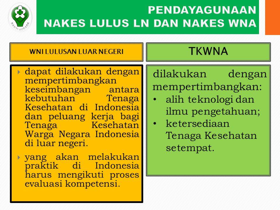  dapat dilakukan dengan mempertimbangkan keseimbangan antara kebutuhan Tenaga Kesehatan di Indonesia dan peluang kerja bagi Tenaga Kesehatan Warga Negara Indonesia di luar negeri.