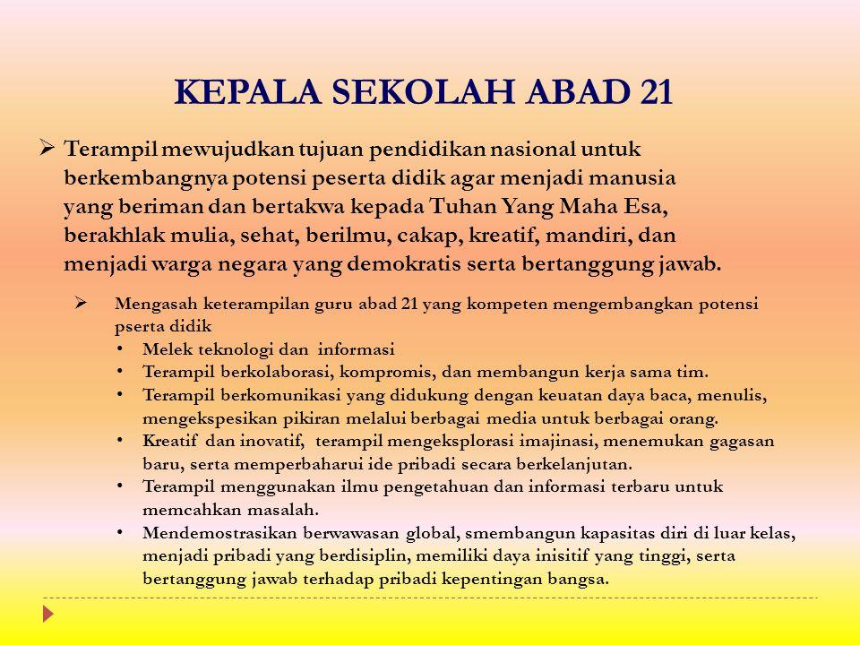 KEPALA SEKOLAH ABAD 21  Terampil mewujudkan tujuan pendidikan nasional untuk berkembangnya potensi peserta didik agar menjadi manusia yang beriman da