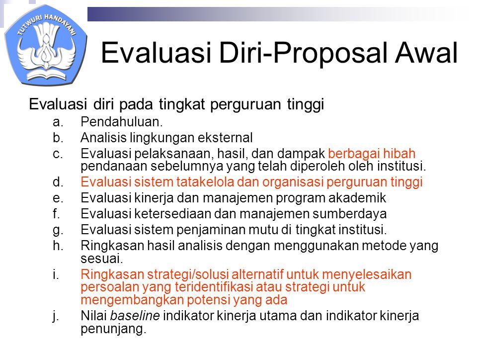 Evaluasi Diri-Proposal Awal Evaluasi diri pada tingkat perguruan tinggi a.Pendahuluan.