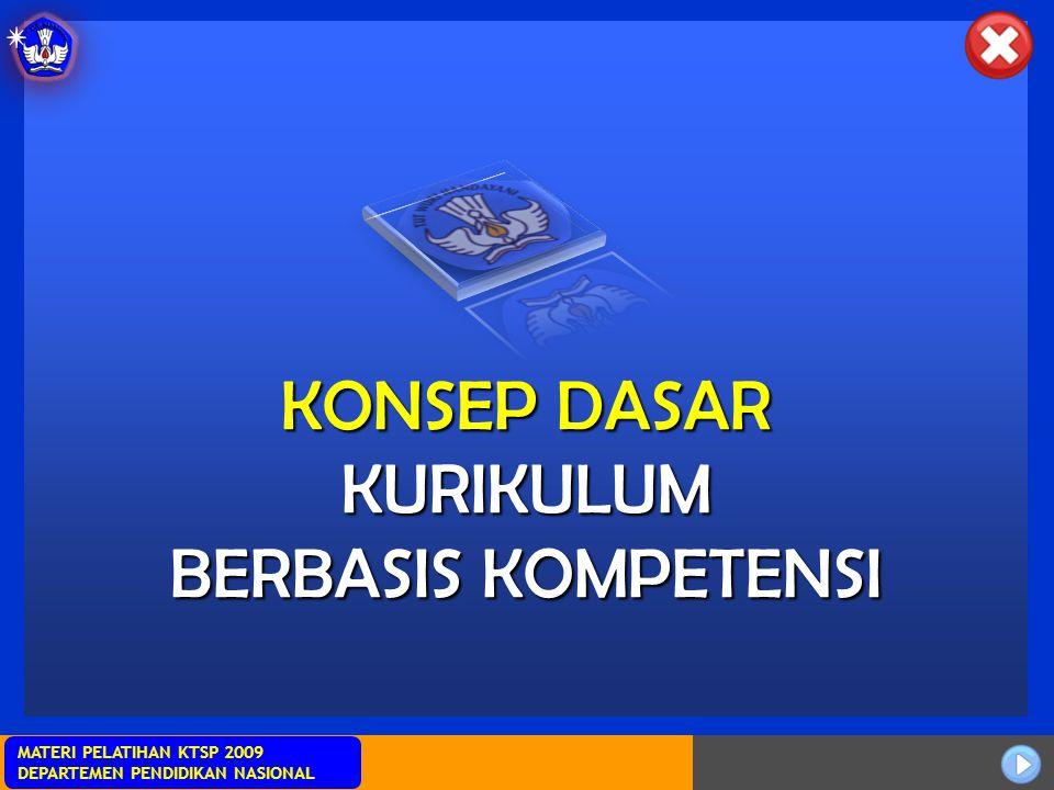 Sosialisasi KTSP MATERI PELATIHAN KTSP 2009 DEPARTEMEN PENDIDIKAN NASIONAL KONSEP DASAR KURIKULUM BERBASIS KOMPETENSI