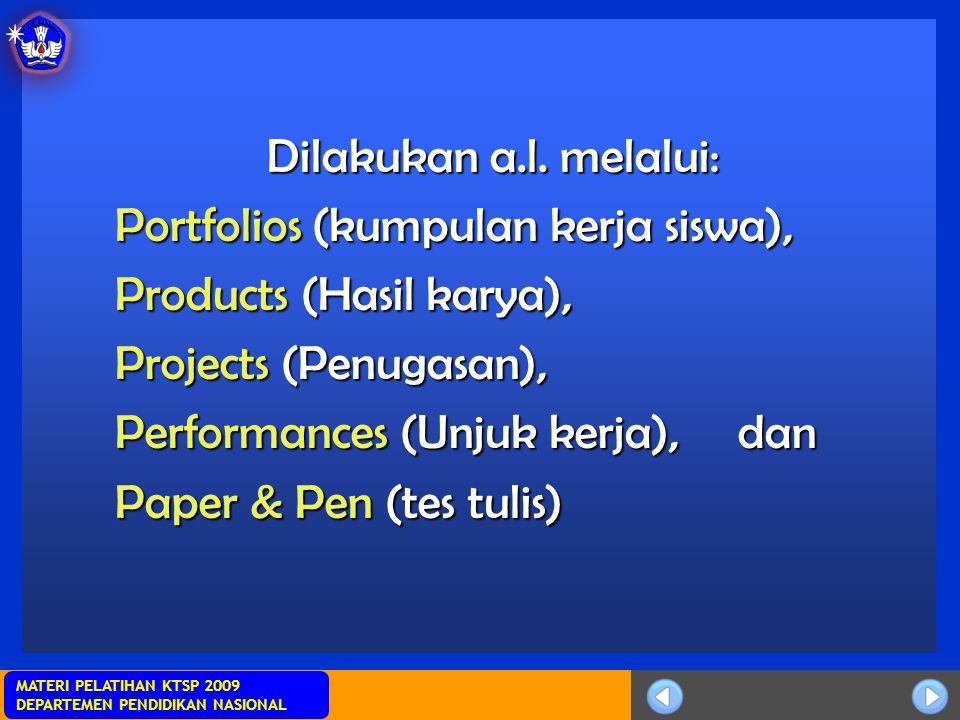 Sosialisasi KTSP MATERI PELATIHAN KTSP 2009 DEPARTEMEN PENDIDIKAN NASIONAL Dilakukan a.l. melalui: Portfolios (kumpulan kerja siswa), Products (Hasil