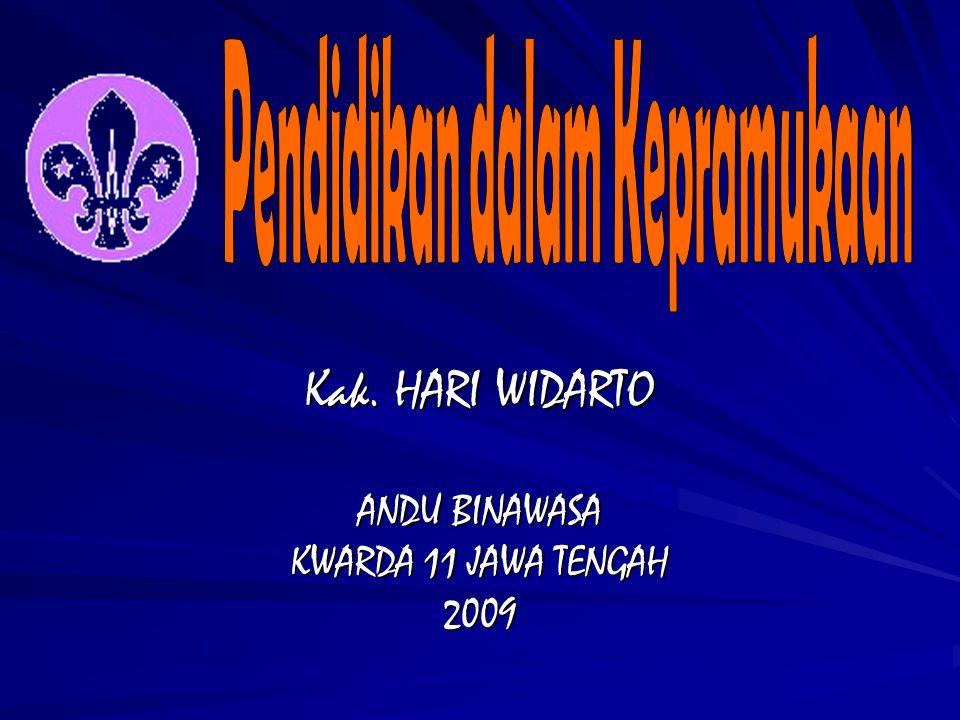 DISAMPAIKAN OLEH Kak. HARI WIDARTO ANDU BINAWASA KWARDA 11 JAWA TENGAH 2009