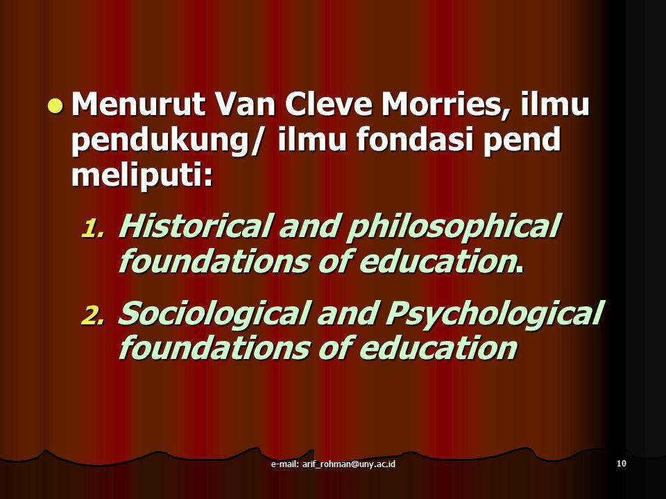 10 Menurut Van Cleve Morries, ilmu pendukung/ ilmu fondasi pend meliputi: Menurut Van Cleve Morries, ilmu pendukung/ ilmu fondasi pend meliputi: 1. Hi