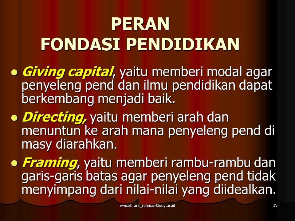 PERAN FONDASI PENDIDIKAN Giving capital, yaitu memberi modal agar penyeleng pend dan ilmu pendidikan dapat berkembang menjadi baik. Giving capital, ya