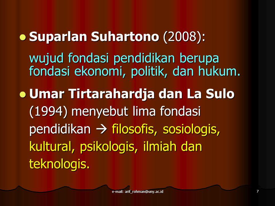 Suparlan Suhartono (2008): Suparlan Suhartono (2008): wujud fondasi pendidikan berupa fondasi ekonomi, politik, dan hukum. Umar Tirtarahardja dan La S