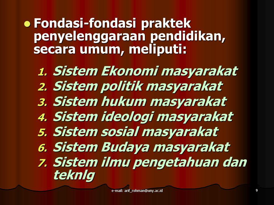 9 Fondasi-fondasi praktek penyelenggaraan pendidikan, secara umum, meliputi: Fondasi-fondasi praktek penyelenggaraan pendidikan, secara umum, meliputi