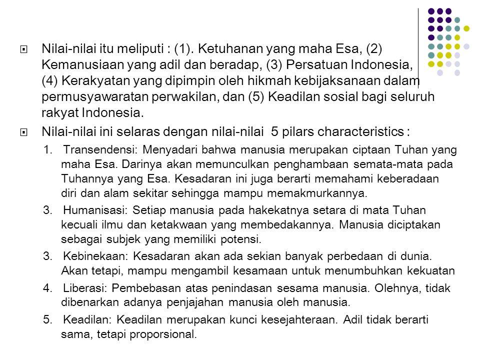  Nilai-nilai itu meliputi : (1). Ketuhanan yang maha Esa, (2) Kemanusiaan yang adil dan beradap, (3) Persatuan Indonesia, (4) Kerakyatan yang dipimpi