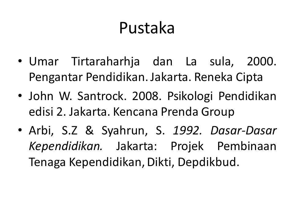 Pustaka Umar Tirtaraharhja dan La sula, 2000. Pengantar Pendidikan. Jakarta. Reneka Cipta John W. Santrock. 2008. Psikologi Pendidikan edisi 2. Jakart
