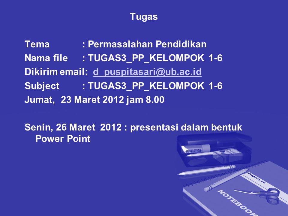 Tugas Tema: Permasalahan Pendidikan Nama file: TUGAS3_PP_KELOMPOK 1-6 Dikirim email: d_puspitasari@ub.ac.idd_puspitasari@ub.ac.id Subject: TUGAS3_PP_KELOMPOK 1-6 Jumat, 23 Maret 2012 jam 8.00 Senin, 26 Maret 2012 : presentasi dalam bentuk Power Point