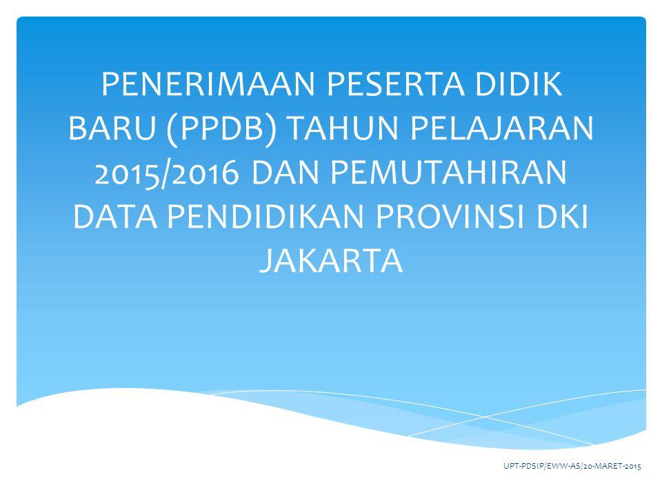 http://disdik.jakarta.go.idhttp://disdik.jakarta.go.id memuat informasi PPDB, data pendidikan dan informasi lainnya yang berkaitan dengan pendidikan di provinsi DKI Jakarta SITUS DINAS PENDIDIKAN UPT-PDSIP/EWW-AS/20-MARET-20152
