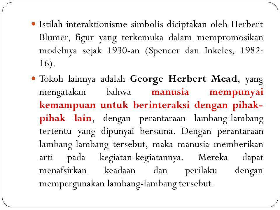 Istilah interaktionisme simbolis diciptakan oleh Herbert Blumer, figur yang terkemuka dalam mempromosikan modelnya sejak 1930-an (Spencer dan Inkeles,