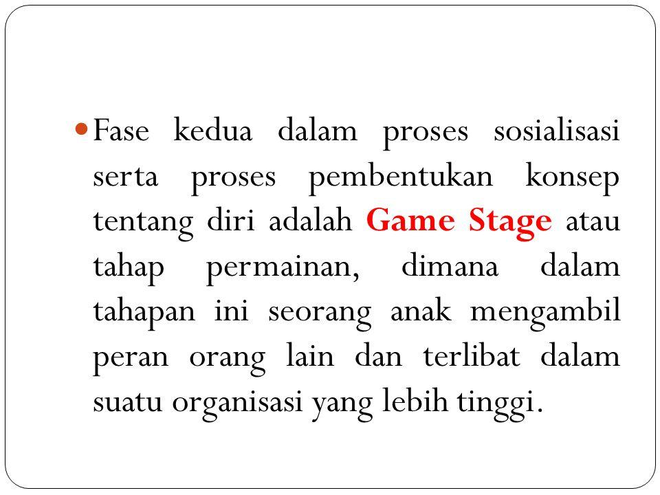 Fase kedua dalam proses sosialisasi serta proses pembentukan konsep tentang diri adalah Game Stage atau tahap permainan, dimana dalam tahapan ini seor