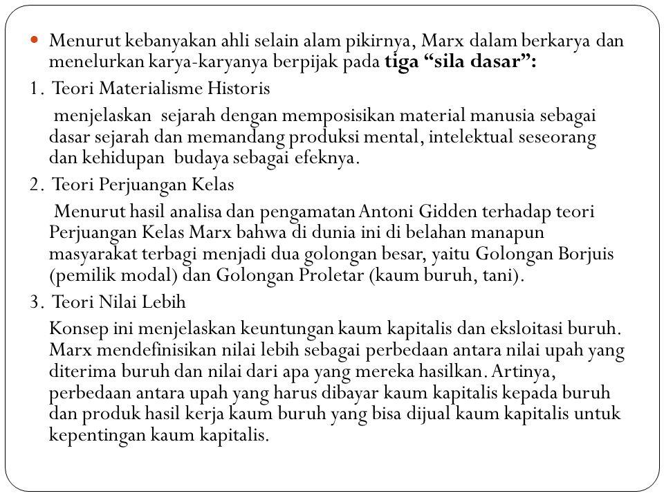 """Menurut kebanyakan ahli selain alam pikirnya, Marx dalam berkarya dan menelurkan karya-karyanya berpijak pada tiga """"sila dasar"""": 1. Teori Materialisme"""