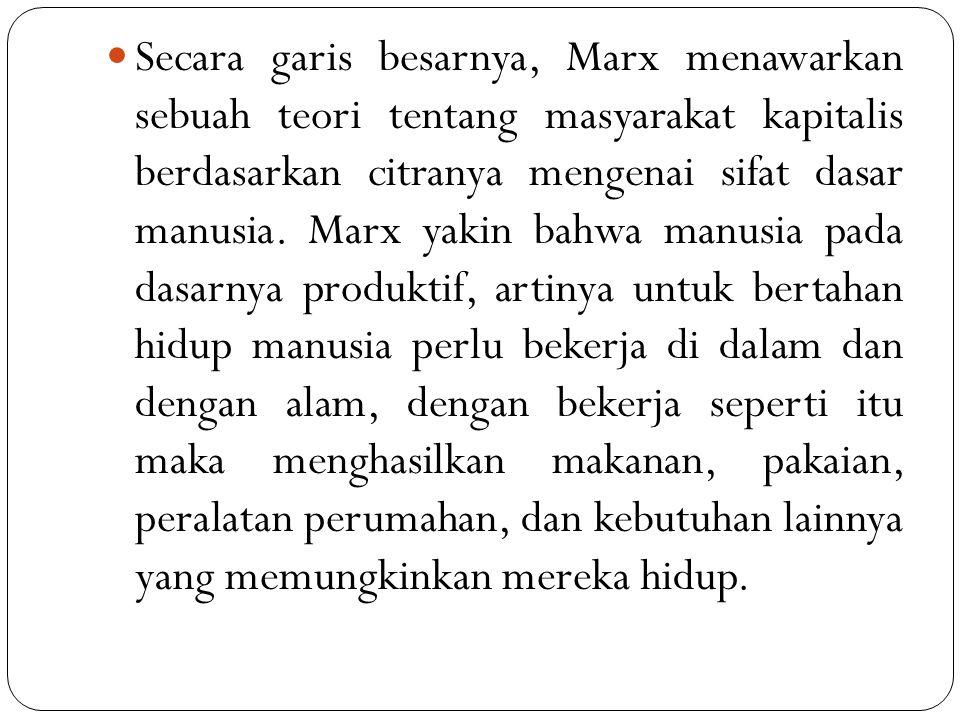 Secara garis besarnya, Marx menawarkan sebuah teori tentang masyarakat kapitalis berdasarkan citranya mengenai sifat dasar manusia. Marx yakin bahwa m