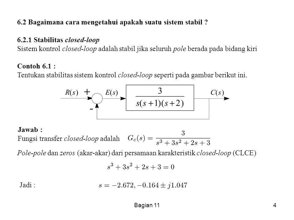 Bagian 114 6.2 Bagaimana cara mengetahui apakah suatu sistem stabil ? 6.2.1 Stabilitas closed-loop Sistem kontrol closed-loop adalah stabil jika selur