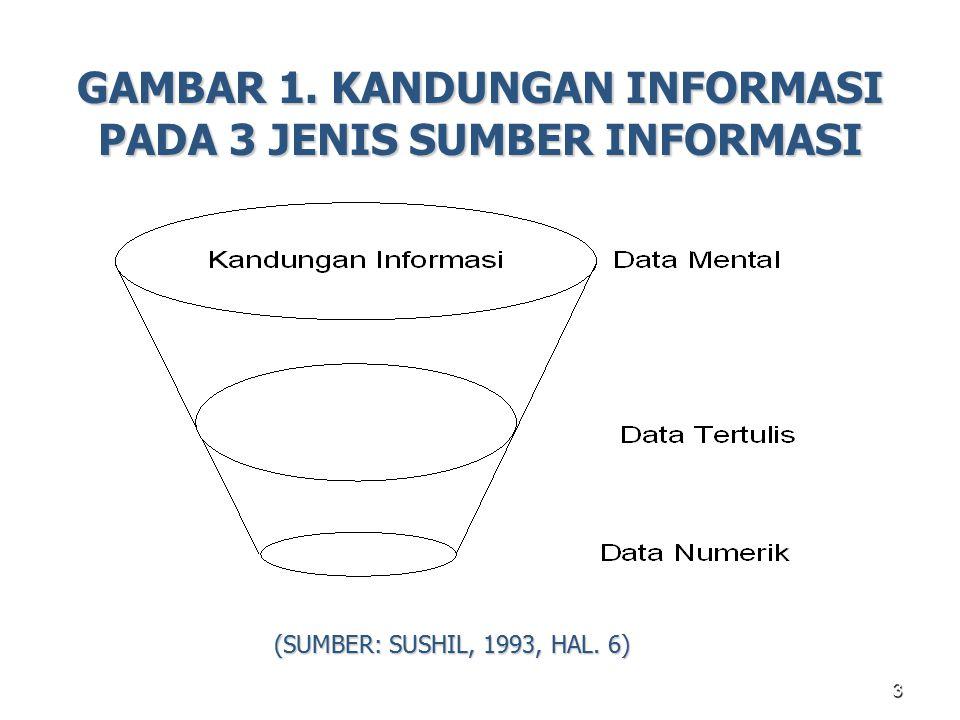 3 GAMBAR 1. KANDUNGAN INFORMASI PADA 3 JENIS SUMBER INFORMASI (SUMBER: SUSHIL, 1993, HAL. 6)