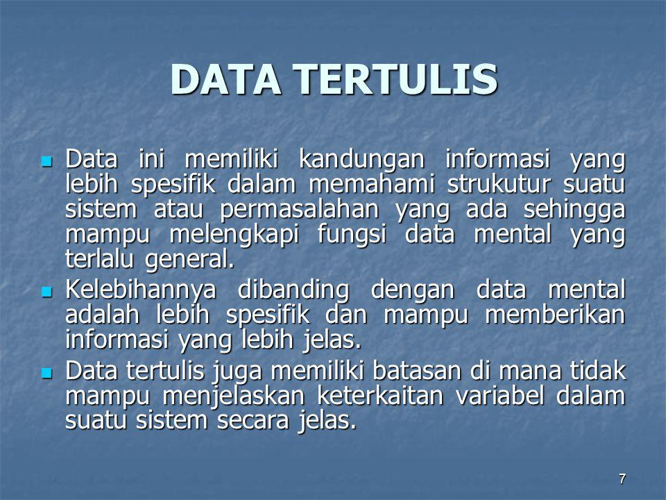 7 DATA TERTULIS Data ini memiliki kandungan informasi yang lebih spesifik dalam memahami strukutur suatu sistem atau permasalahan yang ada sehingga mampu melengkapi fungsi data mental yang terlalu general.