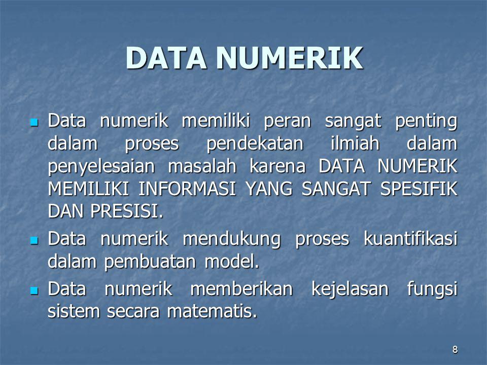 8 DATA NUMERIK Data numerik memiliki peran sangat penting dalam proses pendekatan ilmiah dalam penyelesaian masalah karena DATA NUMERIK MEMILIKI INFORMASI YANG SANGAT SPESIFIK DAN PRESISI.