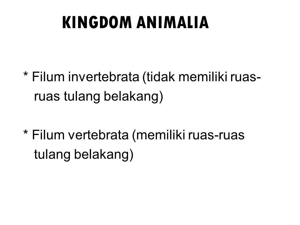 KINGDOM ANIMALIA * Filum invertebrata (tidak memiliki ruas- ruas tulang belakang) * Filum vertebrata (memiliki ruas-ruas tulang belakang)