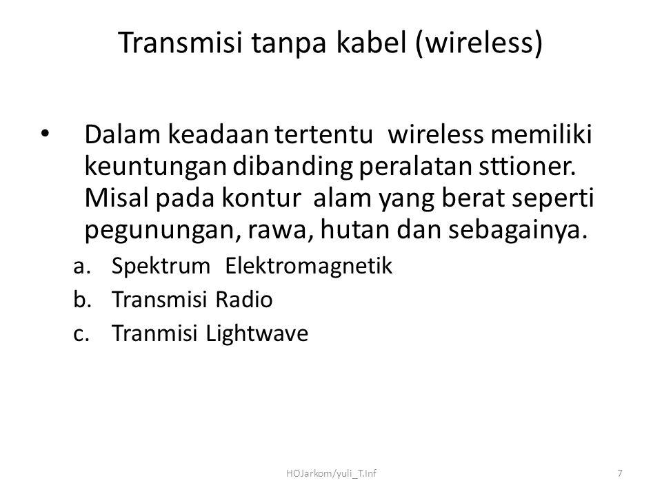 HOJarkom/yuli_T.Inf7 Transmisi tanpa kabel (wireless) Dalam keadaan tertentu wireless memiliki keuntungan dibanding peralatan sttioner. Misal pada kon