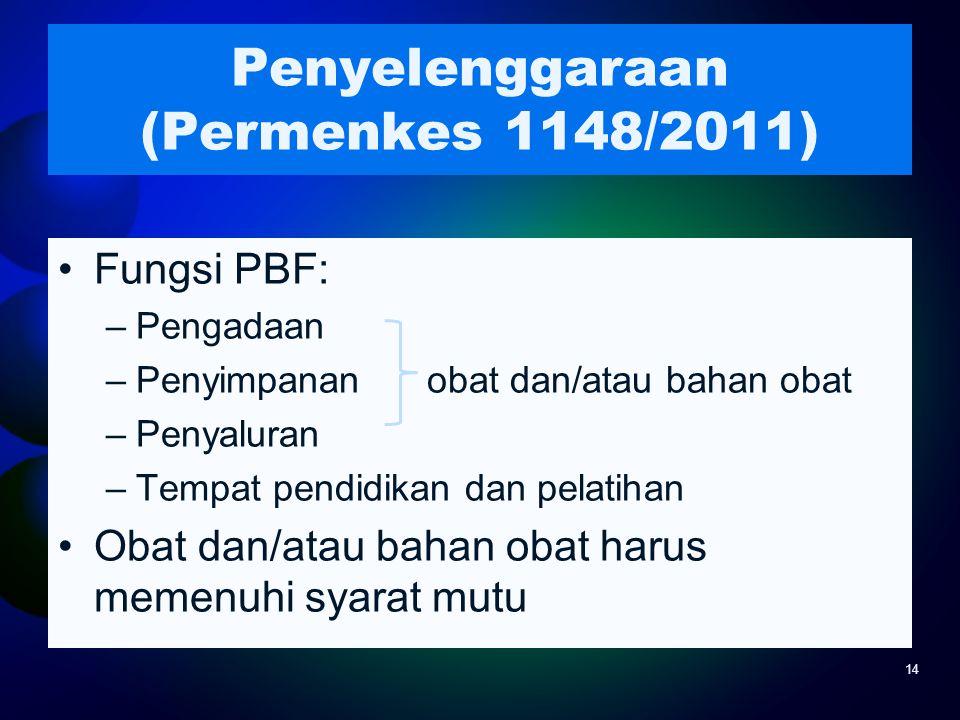 Penyelenggaraan (Permenkes 1148/2011) Fungsi PBF: –Pengadaan –Penyimpanan obat dan/atau bahan obat –Penyaluran –Tempat pendidikan dan pelatihan Obat d