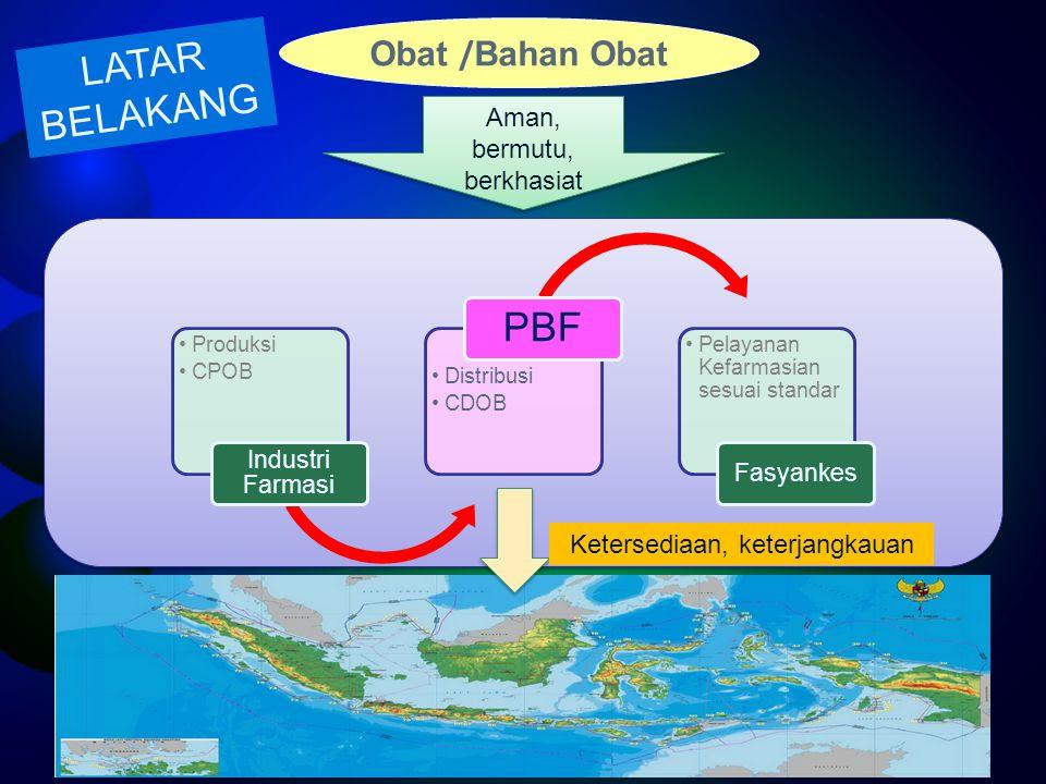 Produksi CPOB Industri Farmasi Distribusi CDOB PBF Pelayanan Kefarmasian sesuai standar Fasyankes Obat / Bahan Obat Aman, bermutu, berkhasiat Ketersed