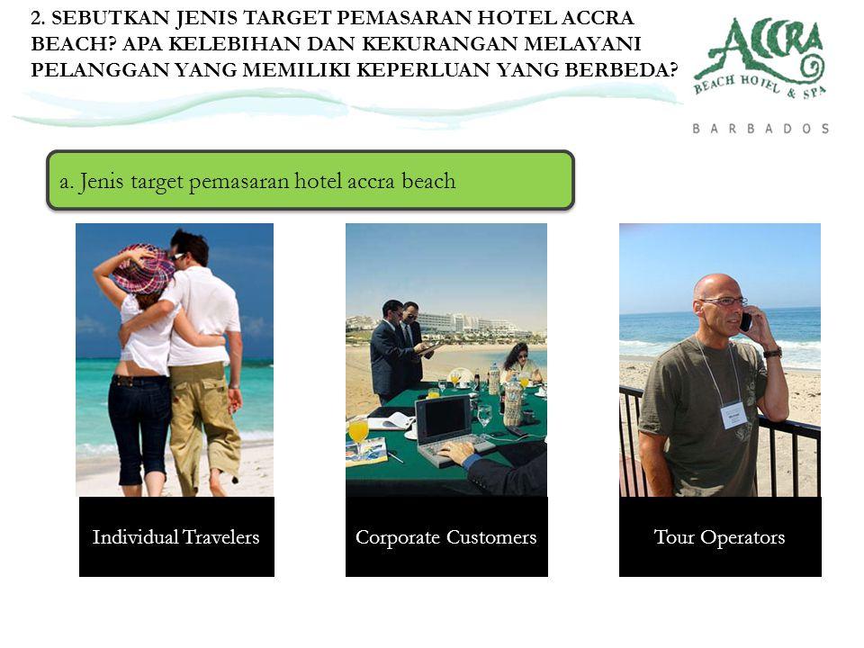 a. Jenis target pemasaran hotel accra beach 2. SEBUTKAN JENIS TARGET PEMASARAN HOTEL ACCRA BEACH? APA KELEBIHAN DAN KEKURANGAN MELAYANI PELANGGAN YANG