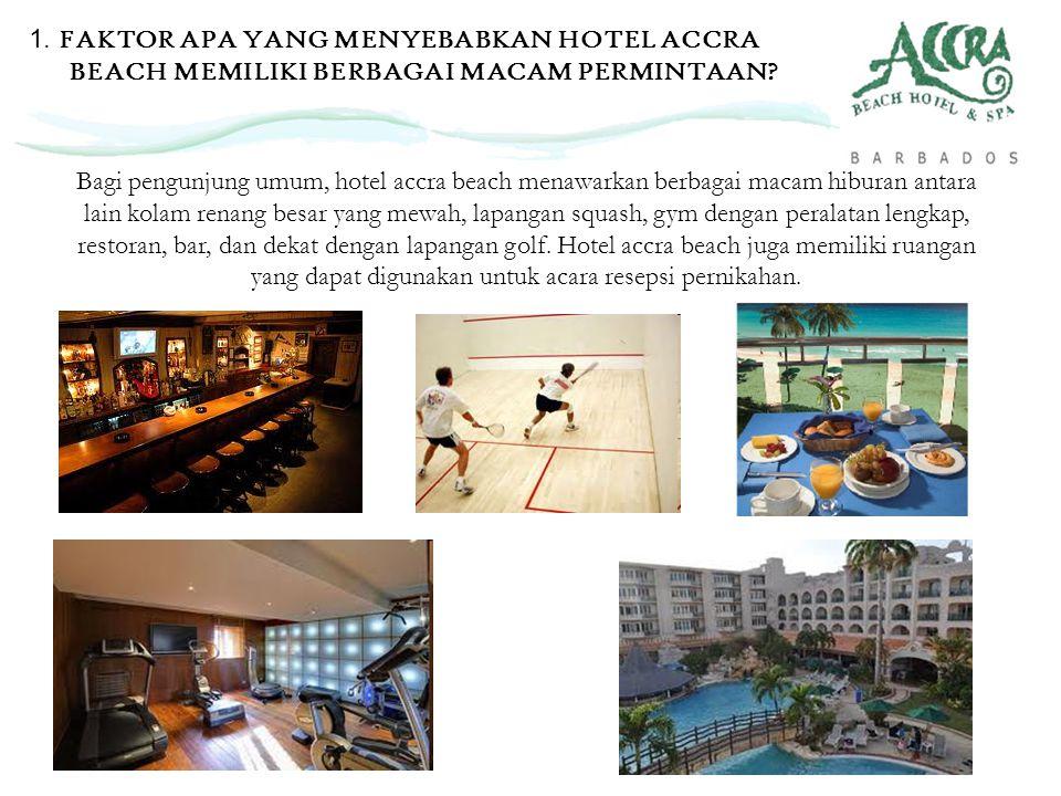 Bagi pengunjung umum, hotel accra beach menawarkan berbagai macam hiburan antara lain kolam renang besar yang mewah, lapangan squash, gym dengan peral