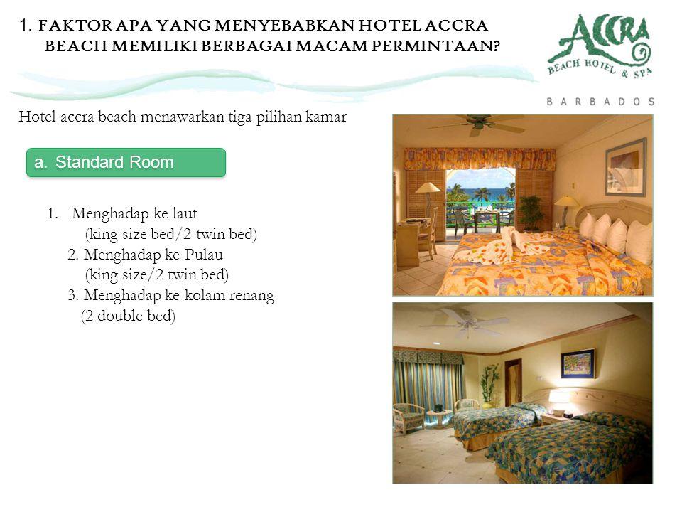 a.Standard Room Hotel accra beach menawarkan tiga pilihan kamar 1. Menghadap ke laut (king size bed/2 twin bed) 2. Menghadap ke Pulau (king size/2 twi