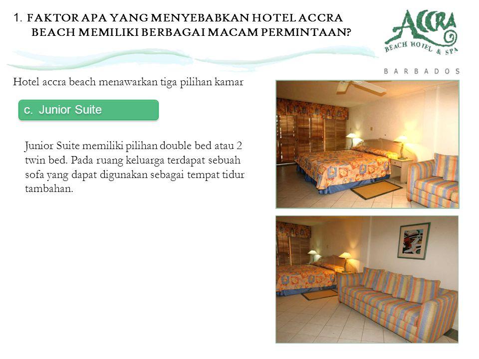 c.Junior Suite Hotel accra beach menawarkan tiga pilihan kamar Junior Suite memiliki pilihan double bed atau 2 twin bed. Pada ruang keluarga terdapat
