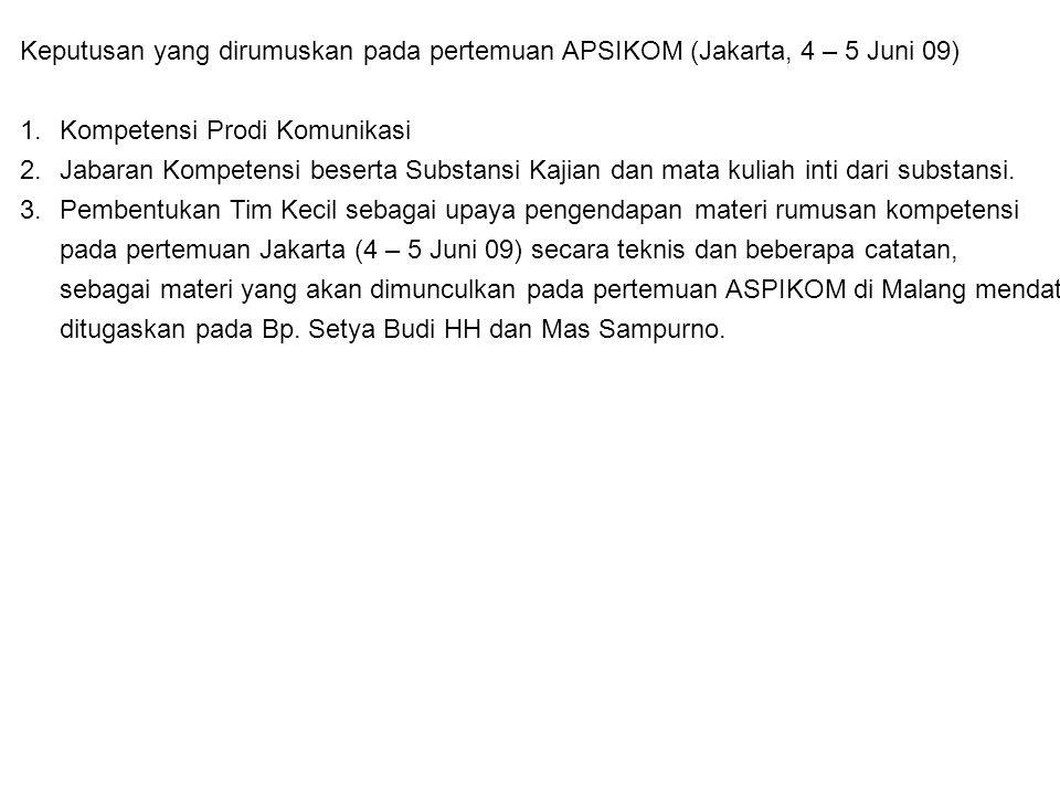 Keputusan yang dirumuskan pada pertemuan APSIKOM (Jakarta, 4 – 5 Juni 09) 1.Kompetensi Prodi Komunikasi 2.Jabaran Kompetensi beserta Substansi Kajian