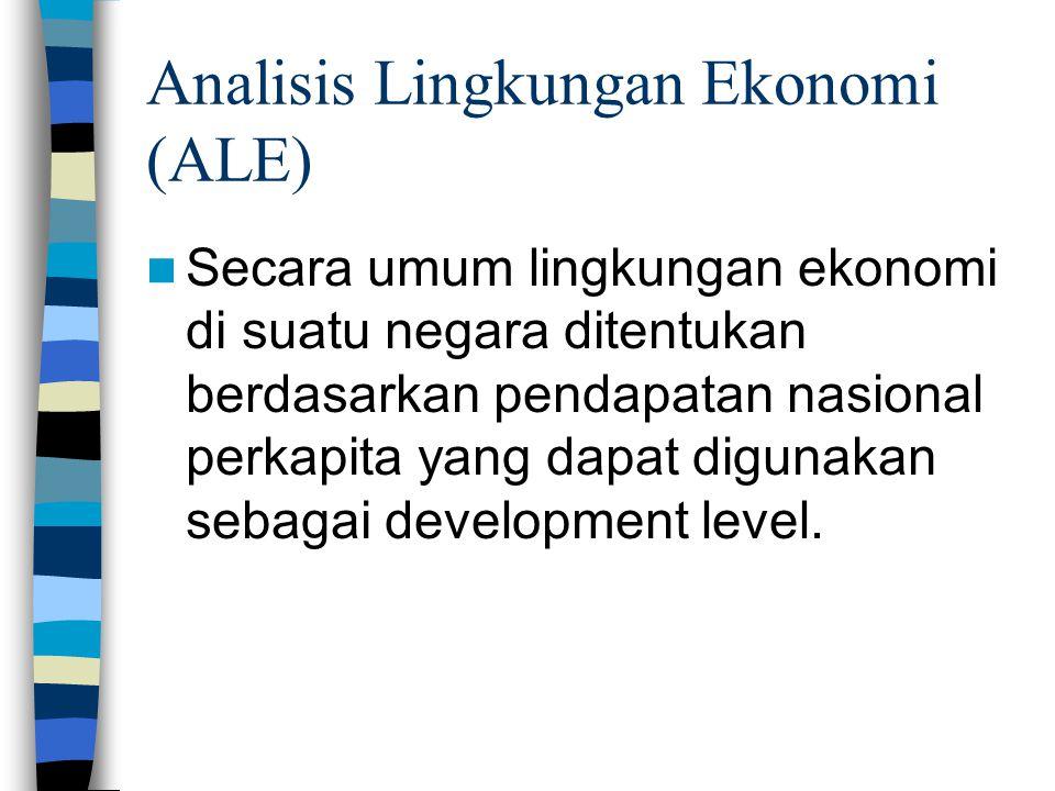 Analisis Lingkungan Ekonomi (ALE) Secara umum lingkungan ekonomi di suatu negara ditentukan berdasarkan pendapatan nasional perkapita yang dapat digunakan sebagai development level.