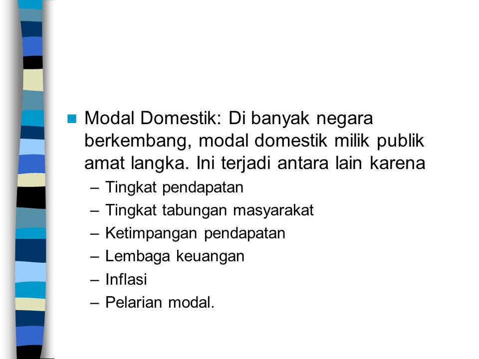 Modal Domestik: Di banyak negara berkembang, modal domestik milik publik amat langka.