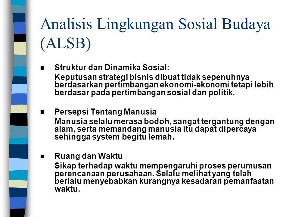 Analisis Lingkungan Sosial Budaya (ALSB) Struktur dan Dinamika Sosial: Keputusan strategi bisnis dibuat tidak sepenuhnya berdasarkan pertimbangan ekonomi-ekonomi tetapi lebih berdasar pada pertimbangan sosial dan politik.