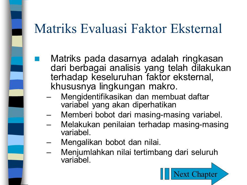 Matriks Evaluasi Faktor Eksternal Matriks pada dasarnya adalah ringkasan dari berbagai analisis yang telah dilakukan terhadap keseluruhan faktor eksternal, khususnya lingkungan makro.
