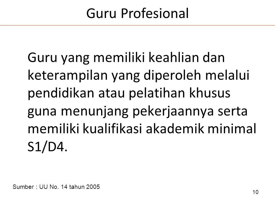 10 Guru yang memiliki keahlian dan keterampilan yang diperoleh melalui pendidikan atau pelatihan khusus guna menunjang pekerjaannya serta memiliki kualifikasi akademik minimal S1/D4.