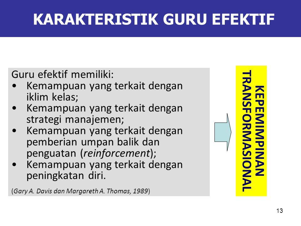 13 KARAKTERISTIK GURU EFEKTIF Guru efektif memiliki: Kemampuan yang terkait dengan iklim kelas; Kemampuan yang terkait dengan strategi manajemen; Kemampuan yang terkait dengan pemberian umpan balik dan penguatan (reinforcement); Kemampuan yang terkait dengan peningkatan diri.