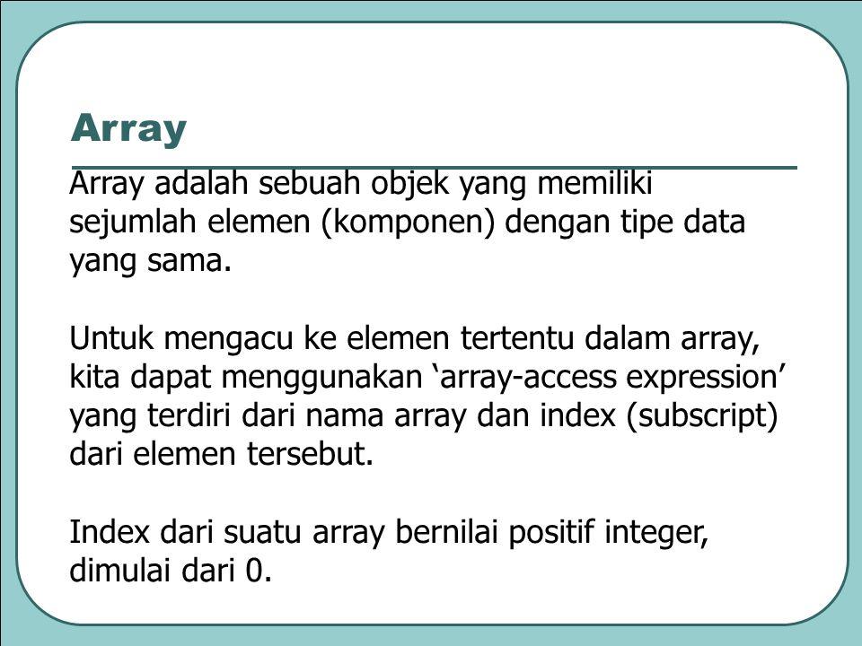 Array adalah sebuah objek yang memiliki sejumlah elemen (komponen) dengan tipe data yang sama.