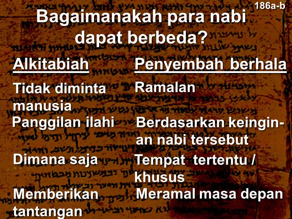 Alkitabiah Bagaimanakah para nabi dapat berbeda? Penyembah berhala Tidak diminta manusia Tidak diminta manusia Ramalan Panggilan ilahi Berdasarkan kei
