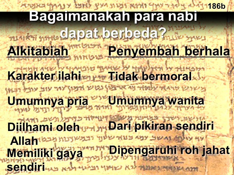 186b Alkitabiah Penyembah berhala Karakter ilahi Tidak bermoral Umumnya pria Umumnya wanita Diilhami oleh Allah Diilhami oleh Allah Dari pikiran sendi