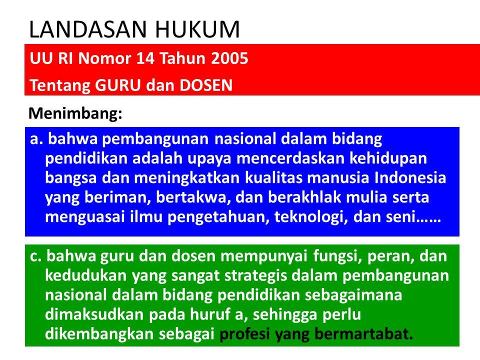 LANDASAN HUKUM UU RI Nomor 14 Tahun 2005 Tentang GURU dan DOSEN a.